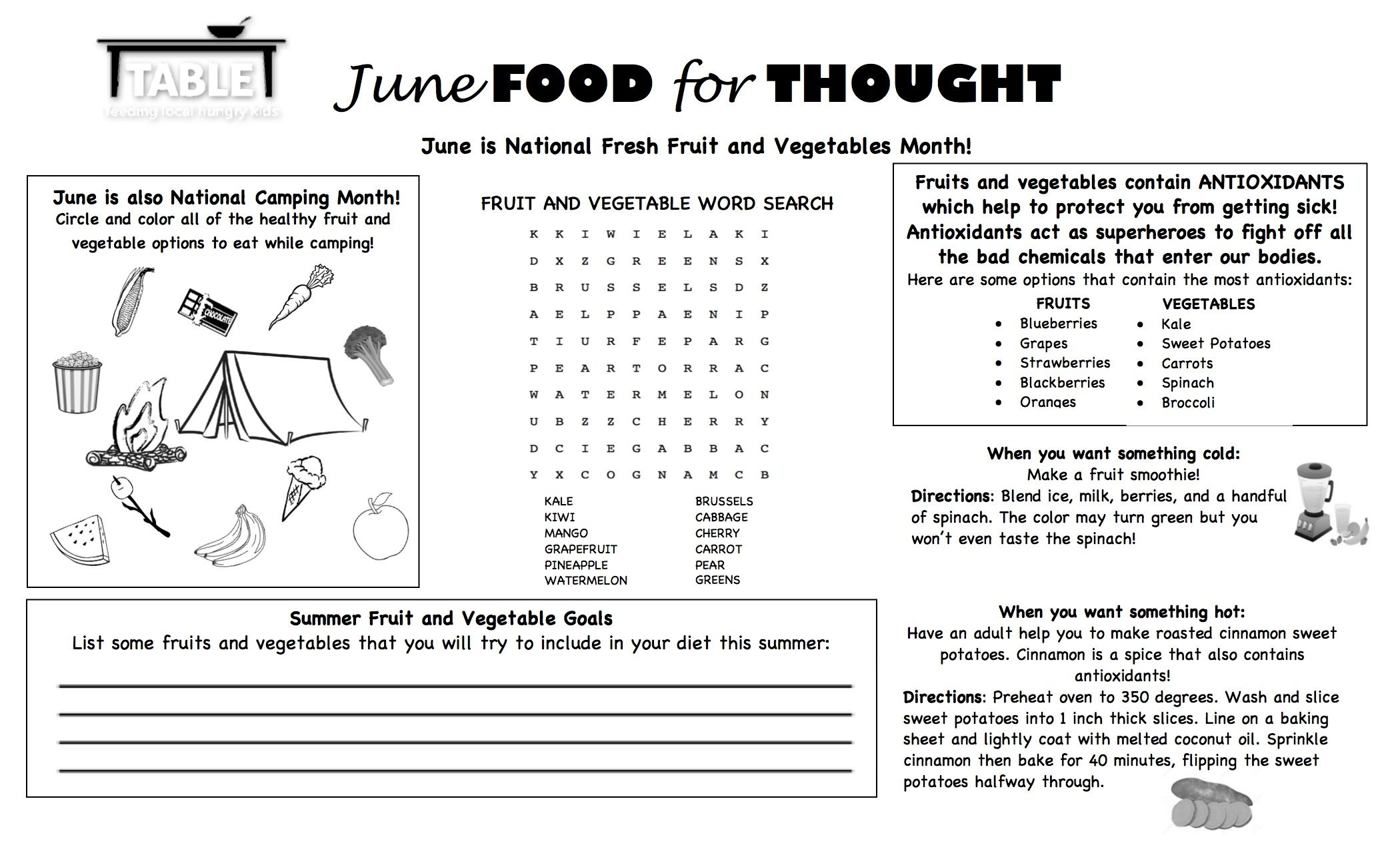 Food For Thought June Edition Kid Friendly Worksheet To