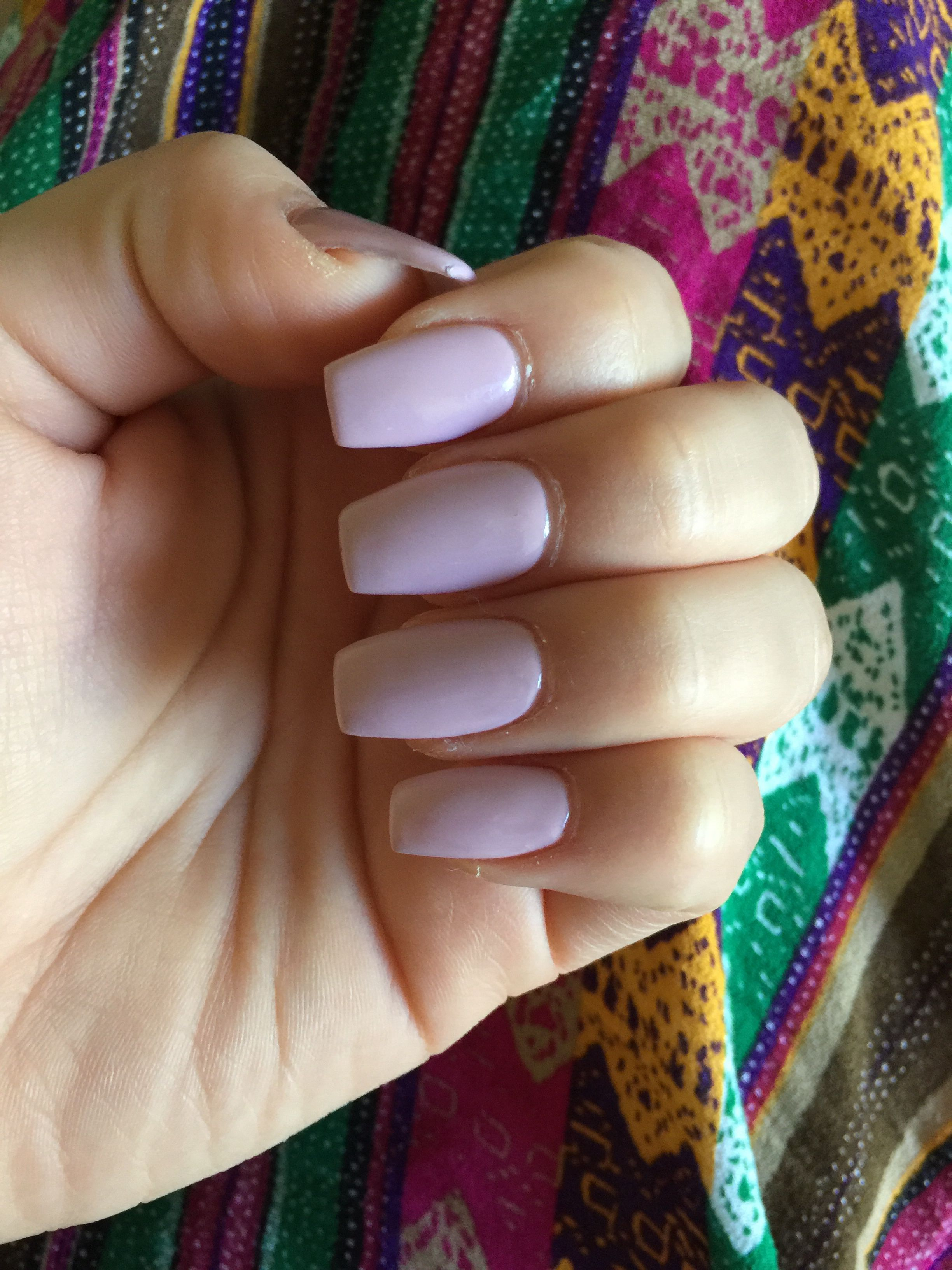 Short Coffin Nail In A Spring Color With Images Short Coffin Nails Coffin Nails Nails
