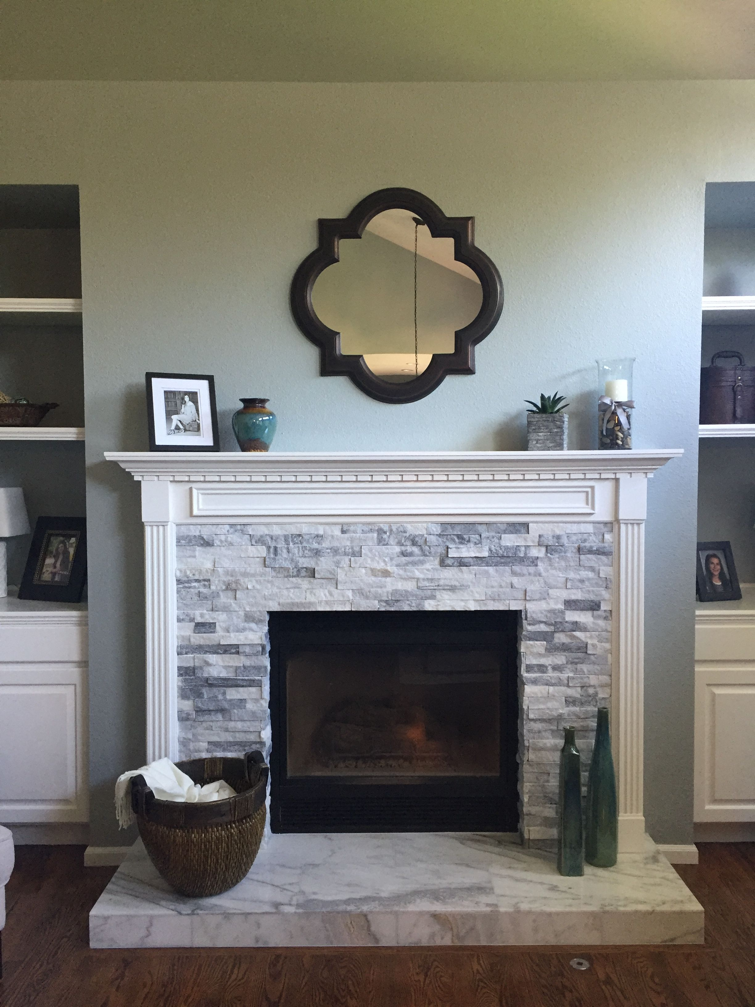 refaced fireplace face msi alaska grey stone ledger panels hearth