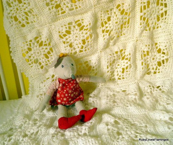 White Crochet Baby Blanket For Pram Moses by RubyLovesFlamingos, £43.71