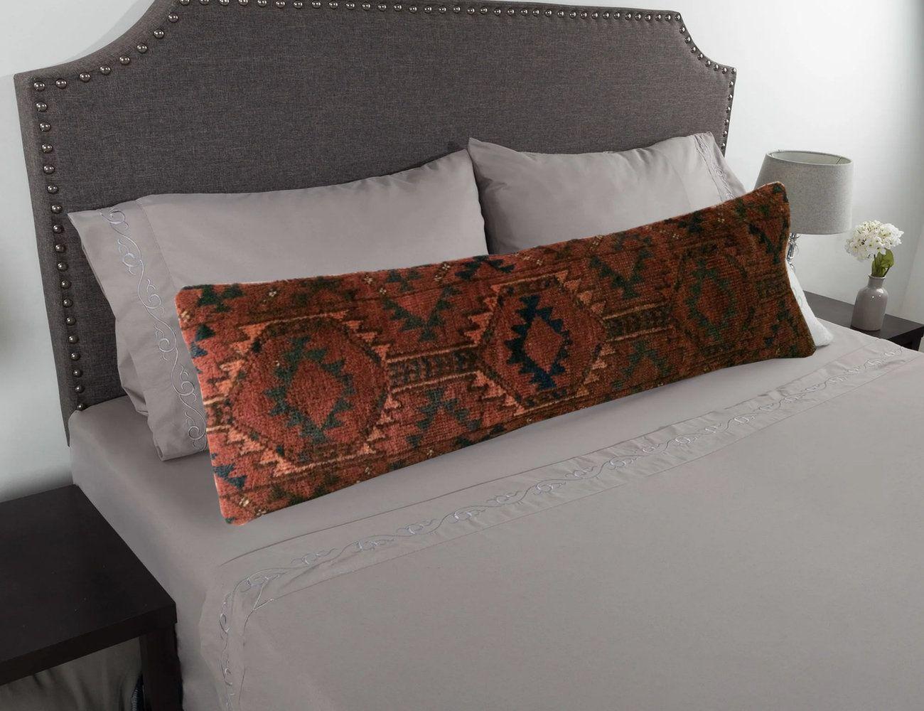 tan orange blue king size lumbar pillow