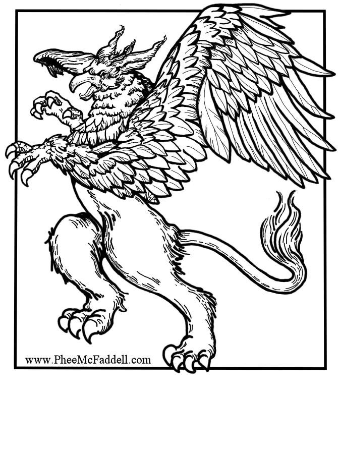 Griffin Black And White Www Pheemcfaddell Com Coloring Pages Dragon Coloring Page Color
