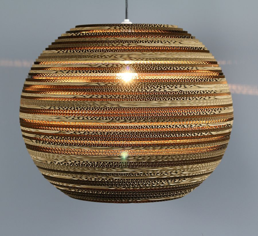 """Large sphere lampshade (20"""") made from recycled cardboard"""