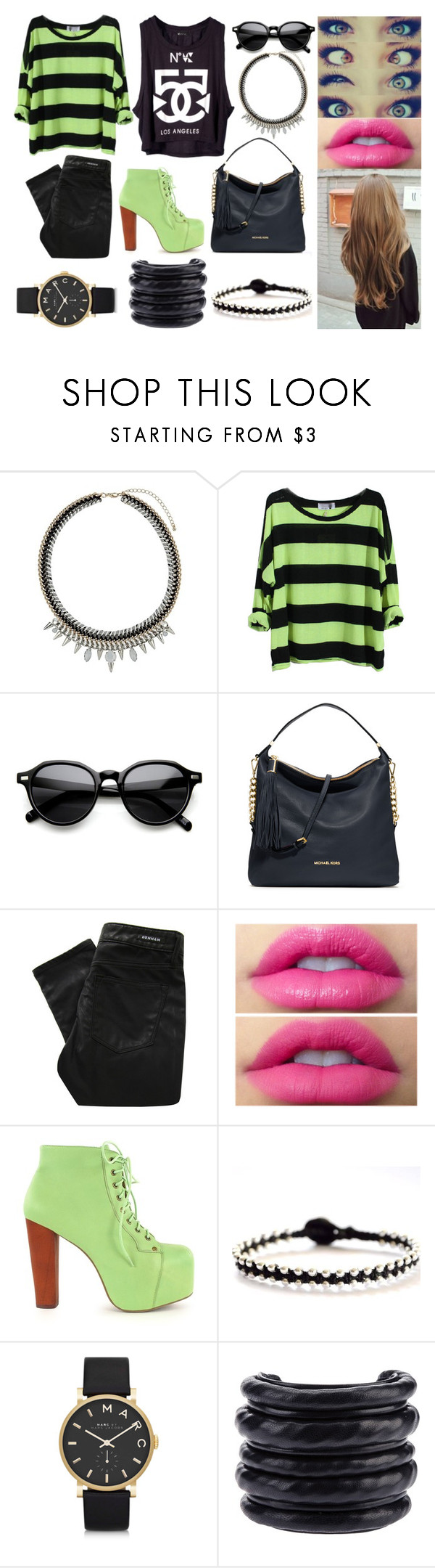 """""""Black"""" by mila4321 ❤ liked on Polyvore featuring Topshop, INDIE HAIR, MICHAEL Michael Kors, Denham, Jeffrey Campbell, Vivien Frank Designs, Marc by Marc Jacobs and Hôtel Particulier"""