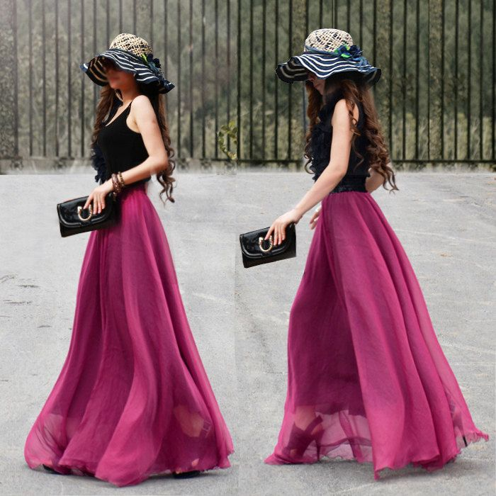 4237e2c8b535 17 Colors Double Silk Chiffon Long Skirt   Summer Skirt  Maxi Dress  Bridesmaid  Dress.