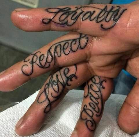 Fingertats Loyalty Respect Love Peace Hand And Finger Tattoos Hand Tattoos For Guys Hand Written Tattoos