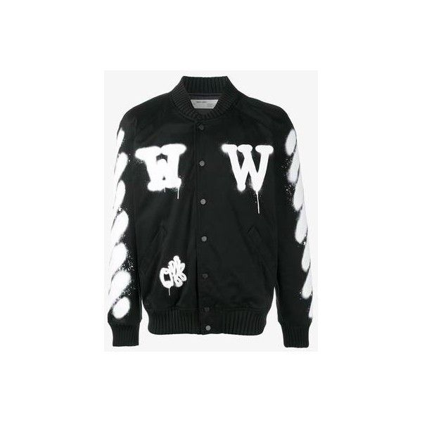 79edbdb781ae Off-White spray paint bomber jacket ( 855) ❤ liked on Polyvore featuring  men s fashion