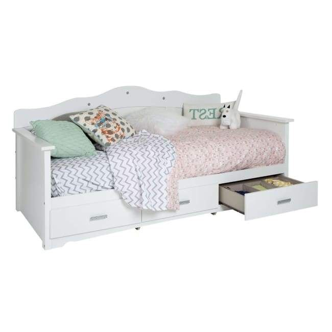 Twin Size Kids Bed Daybed In White Wood Finish With 3 Storage