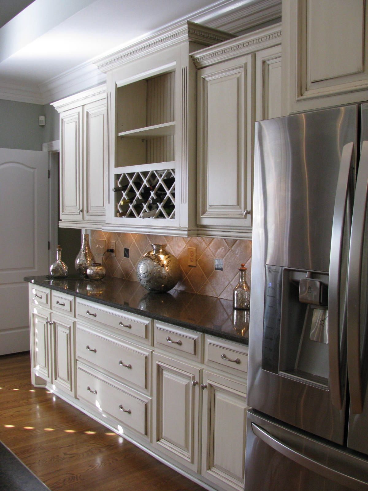 Beautiful Off White Cabinets With Dark Brown Glaze Off White