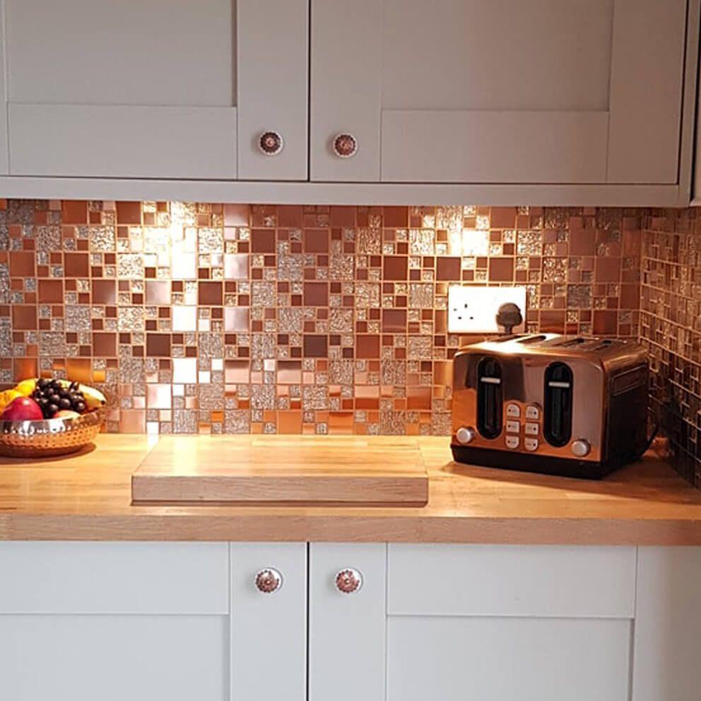 Lunar Copper Metal Glass Mosaic Tiles Stone Tile Company Mosaic Tile Kitchen Kitchen Wall Tiles Modern Copper Splashback Kitchen