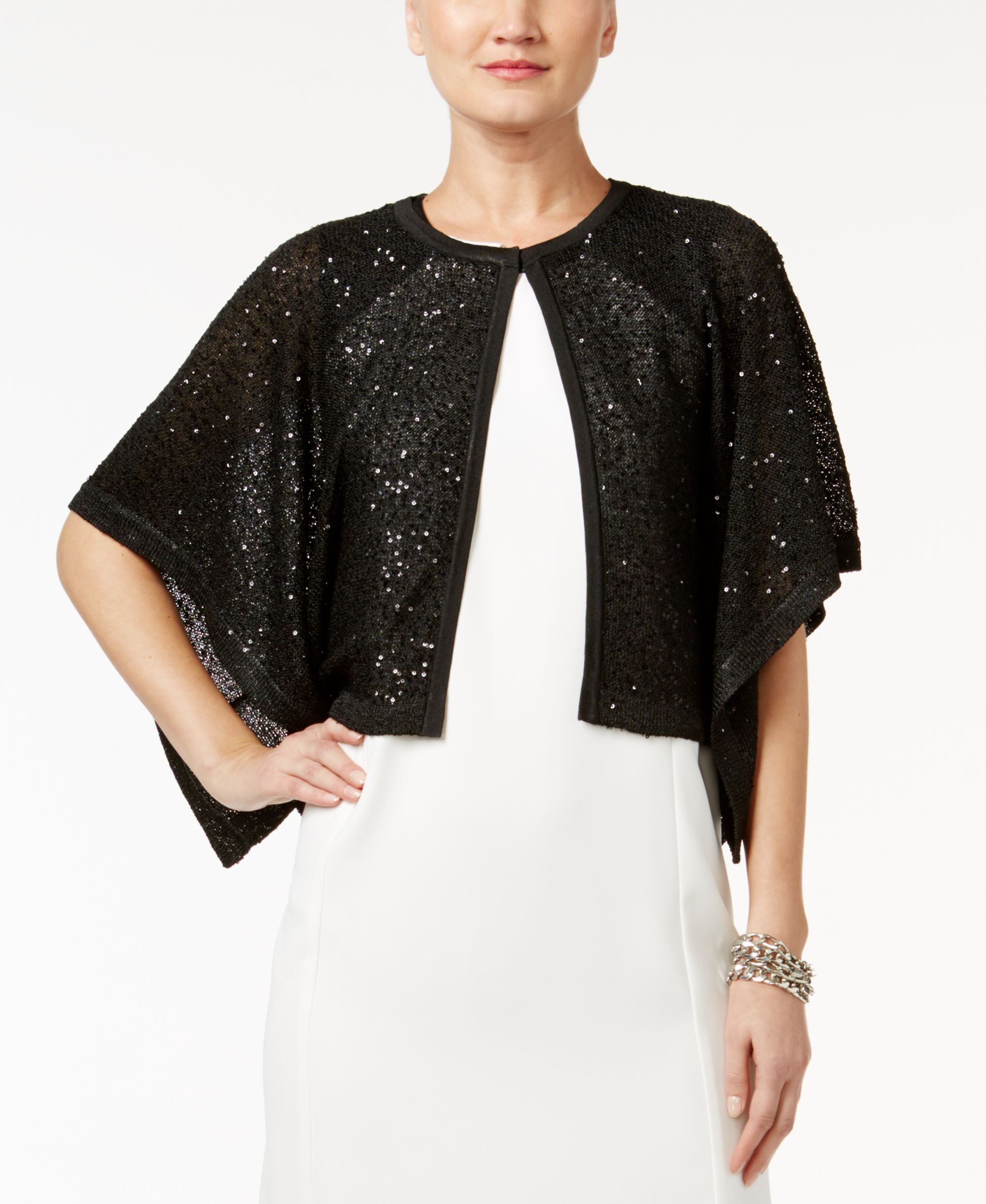Sequins are woven all throughout Alfani's flyaway cardigan. This ...
