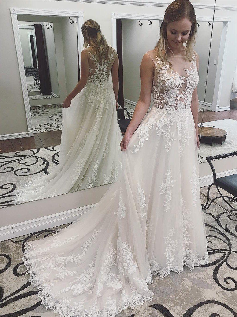 2ba5a43bd1 Lace See Through Cheap Wedding Dresses, Bateau A-line Bridal Dresses, WD433