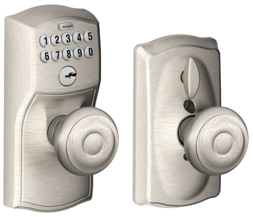 Schlage FE595 CAM GEO Camelot Keypad Entry With Flex Lock Door Knob Set