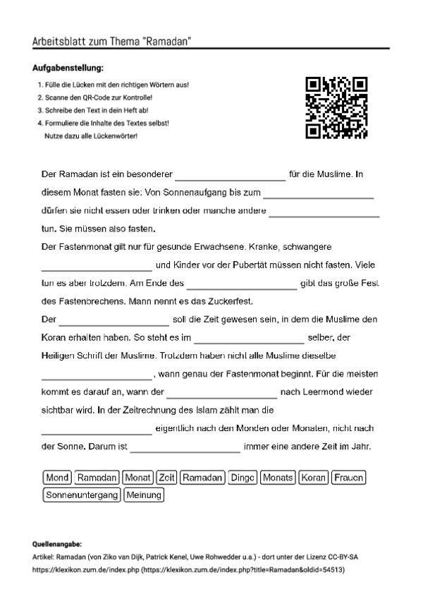 Arbeitsblatt mit Lückentext zum Thema \