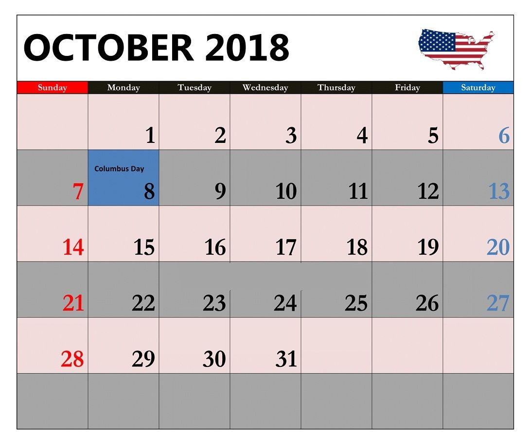 october 2018 calendar us public holidays printable calendar 2018