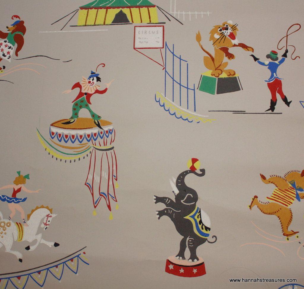 1940 S Vintage Circus Wallpaper For Nursery Boy