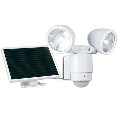 Maxsa solar dual head security led flood light finish white this white dual head led outdoor security light is powered by the sun and turns on automatically when movement is detected at night off white finish aloadofball Image collections