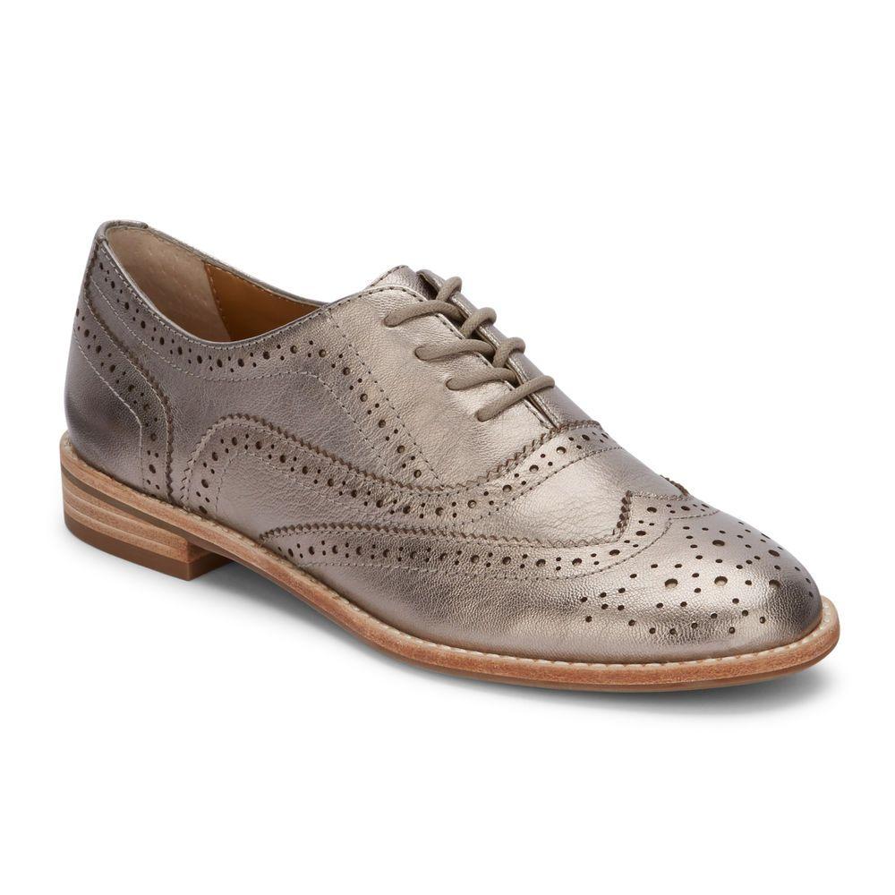 49035f243a Women's Erica Genuine Leather Wingtip Oxford Shoe Pewter #BassFootwear # Oxfords
