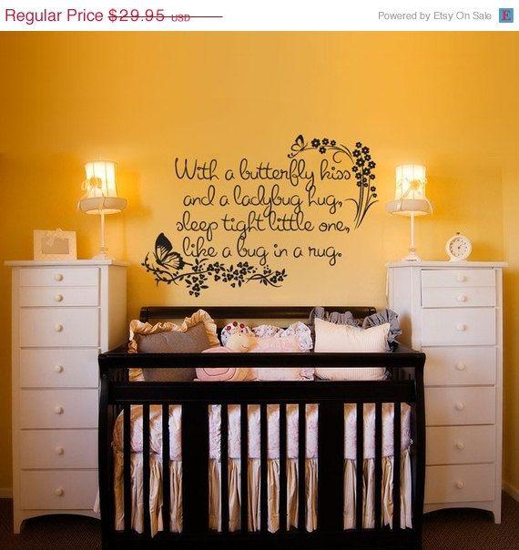 Nursey Wall Decal - With a Butterfly Kiss and a Ladybug Hug - kids ...