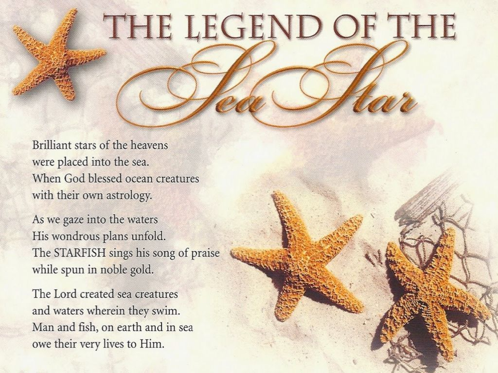 Starfish poem card - The Legend Of The Sea Star