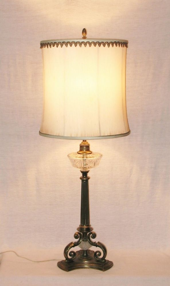 Vtg 40s french provincial brass cut glass table lamp lamps vtg 40s french provincial brass cut glass table lamp mozeypictures Images