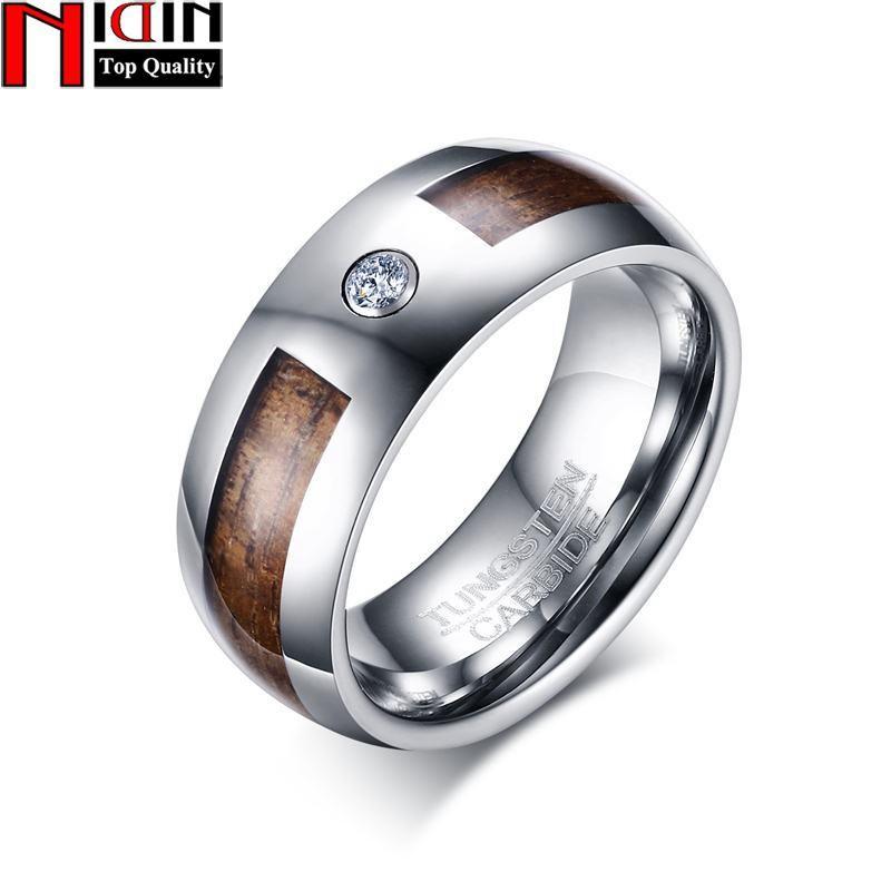 Nidin 2017 New Tungsten 8mm Wood Tungsten Carbide Engagement Ring