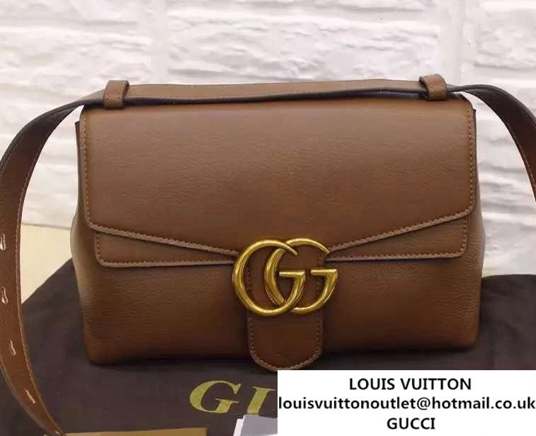 4f1335bc088 Gucci GG Marmont Leather Shoulder Large Bag 400245 Brown