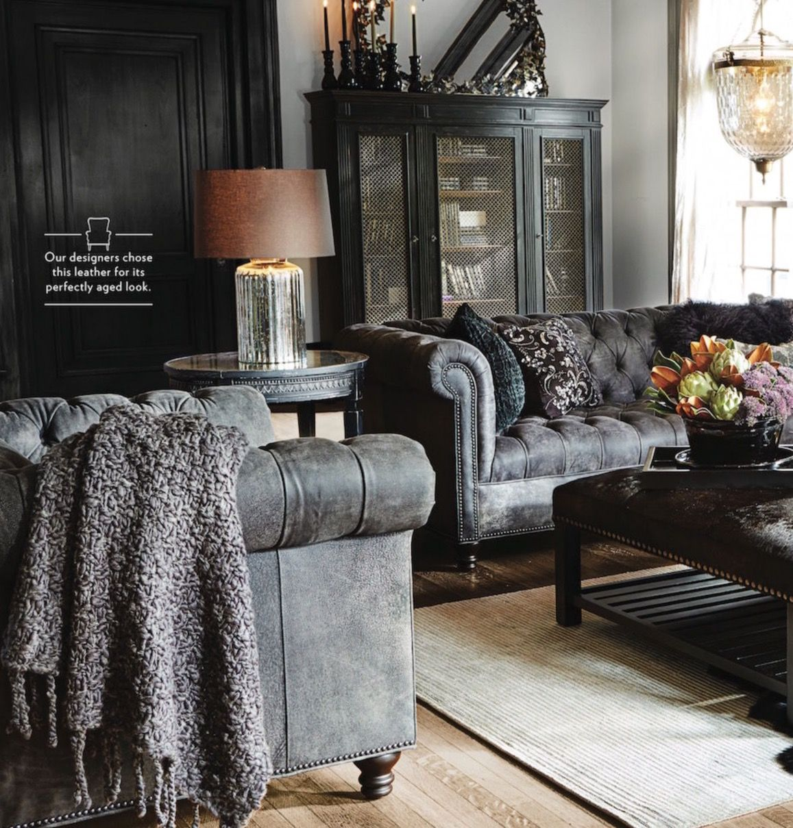 Dark Grey Couch Living Room Ideas Living A Beautiful Life Restoration Hardware