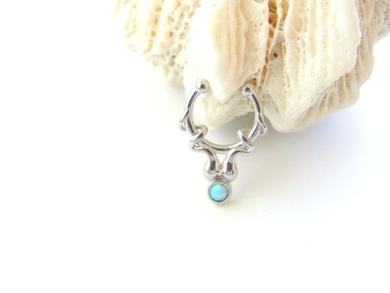 Light Blue Fire Opal Fake Septum Ring Non By