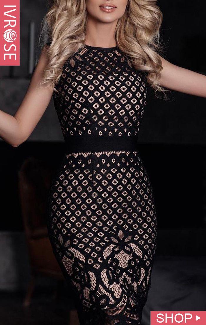 Black Hollow Out Lace Stitching Party Dress #blacksleevelessdress