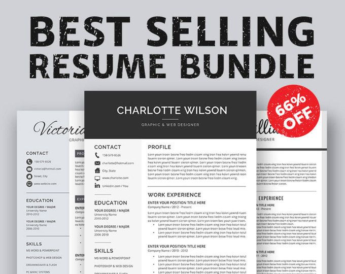 Professional Resume Template, CV Template, Cover Letter, MS Word - word resume template mac