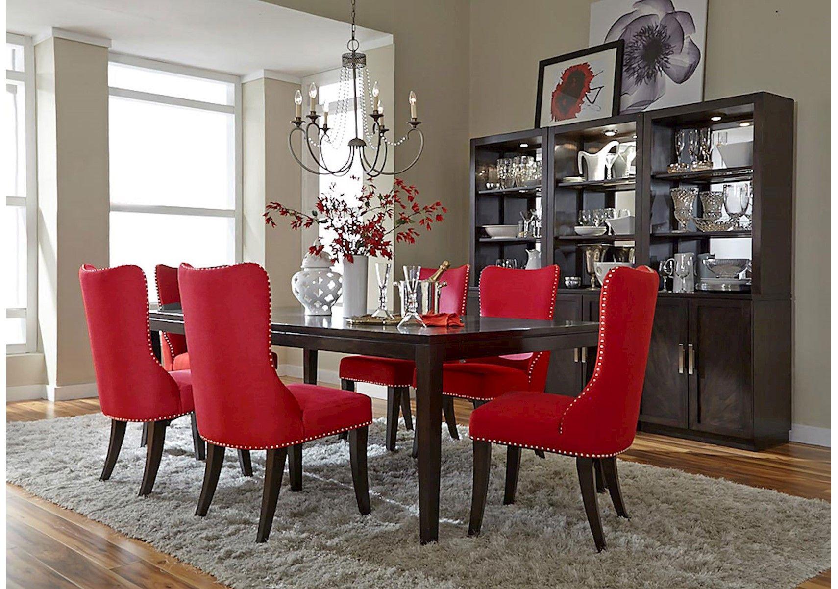 Lacks Platinum Red 7 Pc Dining Set Dining Room Sets Dining