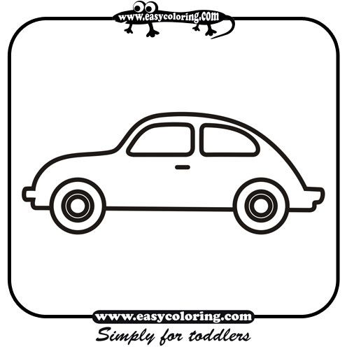 Car Four Simple Cars Easy Coloring Cars For Toddlers Cars Coloring Pages Easy Coloring Pages Lacing Cards