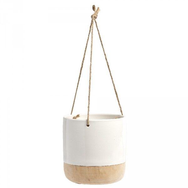 Pot à Suspendre Pour Plante Blanc Et Bois En 2019 Shopping