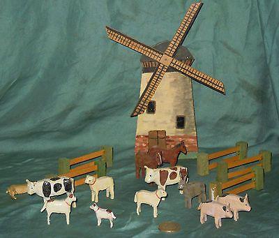Erzgebirge vintage wind mill with farm animals