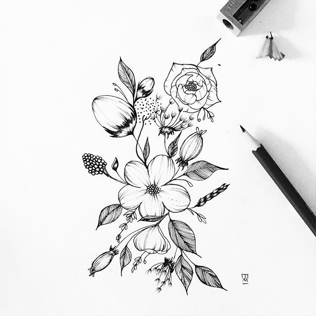 Flower drawing flores y plantas pinterest flower tattoo and flower drawing thecheapjerseys Choice Image