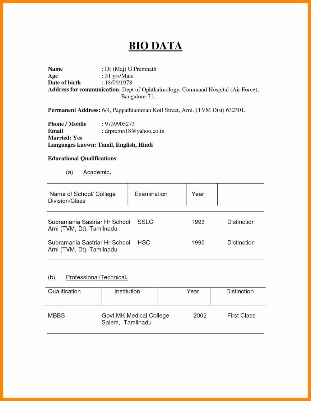 marriage resume format marriage resume format for girl in