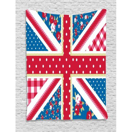 Shabby Chic Decor Tapestry Cute British Flag Floral Style