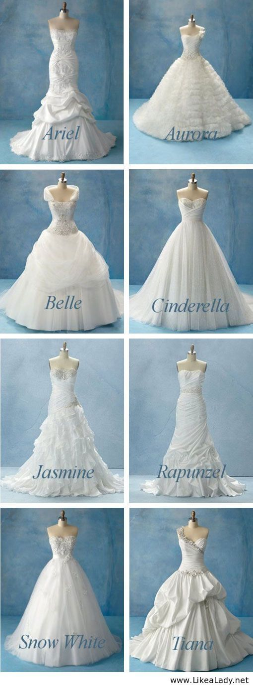 Disney Wedding Dresses. LOVE THEM ALL!! SO HARD TO PICK A FAV!!!