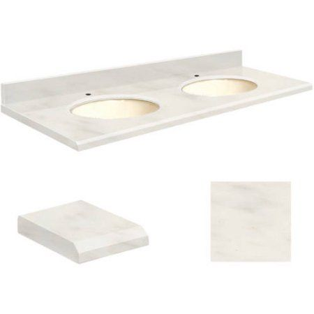 Transolid Quartz 61 inch x 22 inch Double Sink Bathroom Vanity Top with Beveled Edge, Single Faucet Hole and Biscuit Bowl, Available in Various Colors, Beige