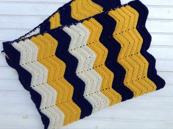 Vintage Crocheted Chevron Afghan - Brown, Gold, Cream- Baby Gift ...