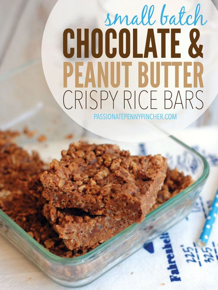 Small Batch Chocolate & Peanut Butter Crispy Rice Bars