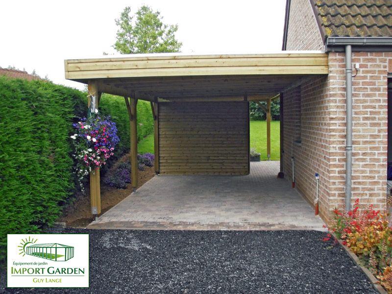 carport toit plat avec brise vue Import Garden Abri pour