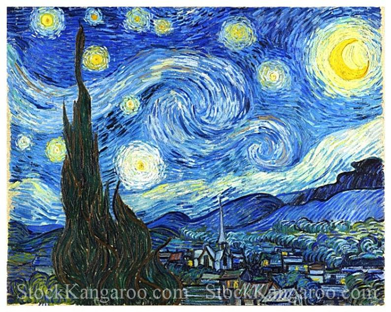 Vincent Van Gogh The Starry Night High Resolution Digital Download Art Craft Printable Starry Night Van Gogh Starry Night Wallpaper Starry Night Painting