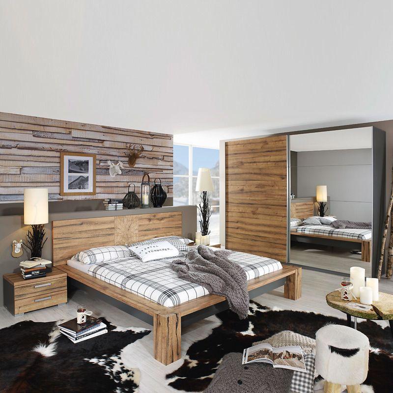 Schlafzimmerset 4-tlg DAVOSI221 Wildeiche, graphit Jetzt bestellen - schlafzimmer komplett