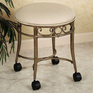 Mcclare vanity stool vanity stool vanities and stools - Vanity chair on wheels ...