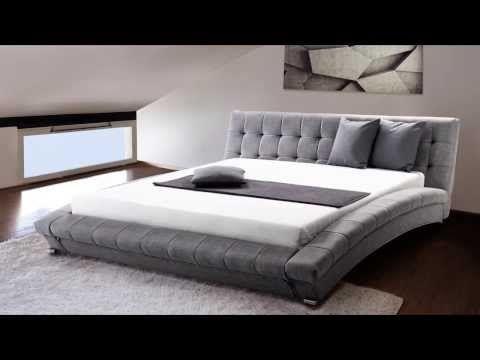 dc330aa2a7cb23 Lit design en tissu - lit double 180x200 cm - sommier inclus - Lille - gris  ✓ Beliani.fr