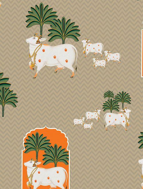Buy Beige-Multicolor Printed Canvas Textured Self Adhesive Ethnic Wallpaper Online at Jaypore.com