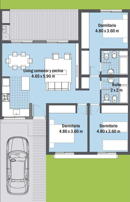 Vivienda de construcci n en seco de 87 m2 steel framing 3 for Casa clasica procrear 1 dormitorio
