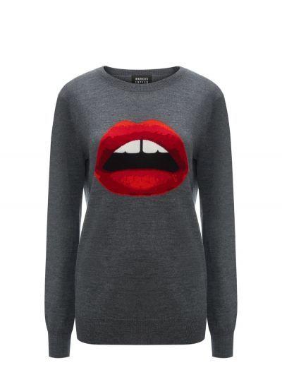 Medium Grey Red Lara Lip Intarsia Natalie Jumper I Love It In